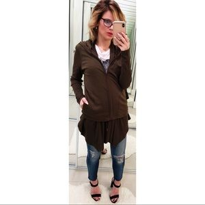 Three Dots Olive Hooded Thermal Zip Cardigan